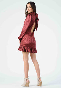 LYNETTE MOCK NECK OPEN BACK DRESS | MAROON
