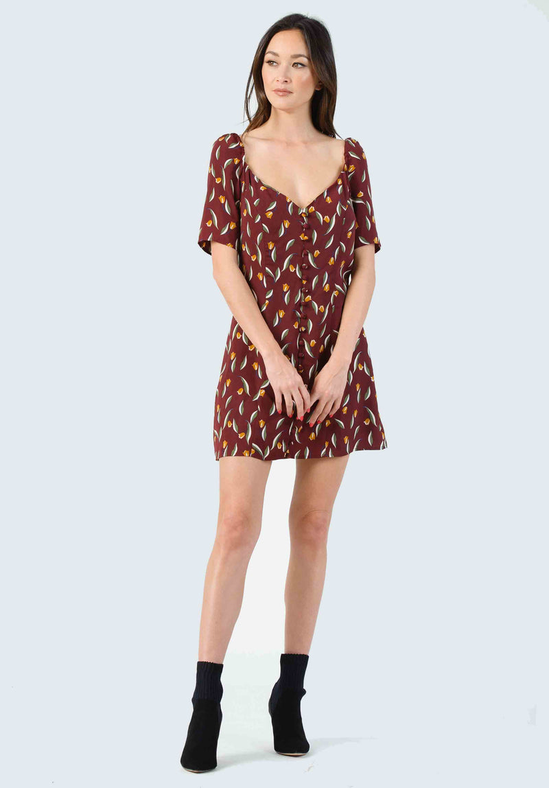 ANNABELLA TIERED SHIFT DRESS | CHESTNUT