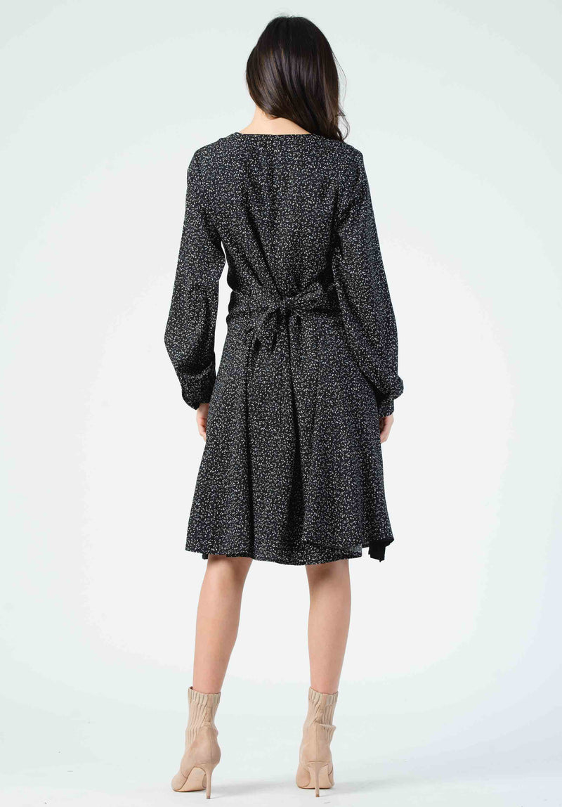 RENE TIE FRONT V-NECK DRESS | BLACK/WHITE SPECKLE
