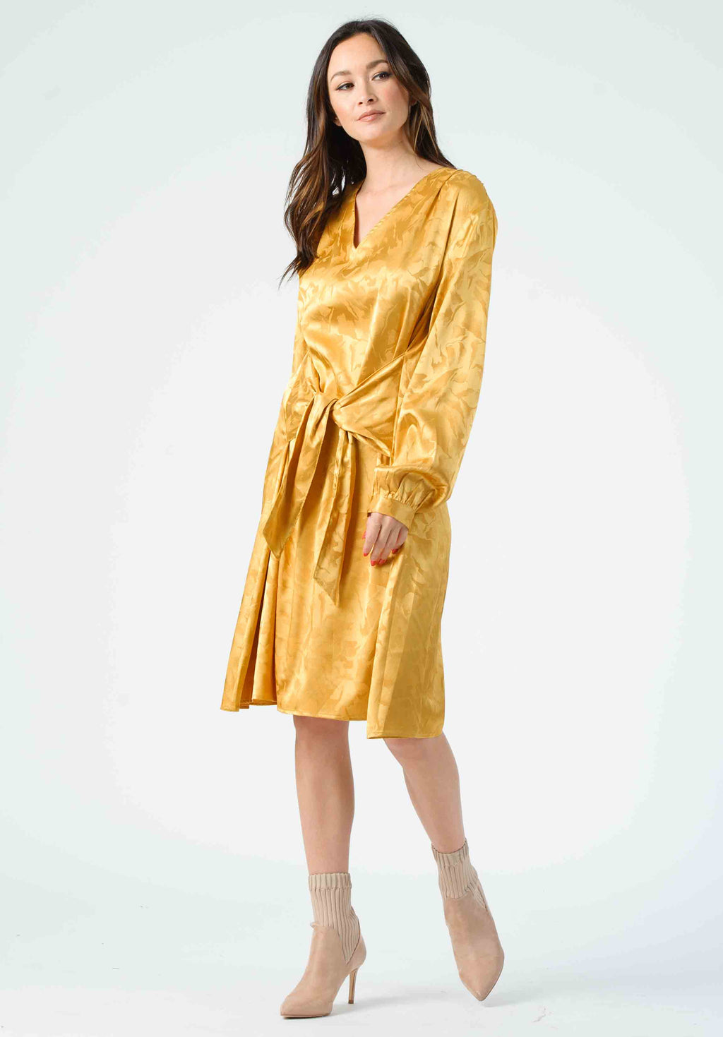 RENE TIE FRONT V-NECK DRESS | GOLD