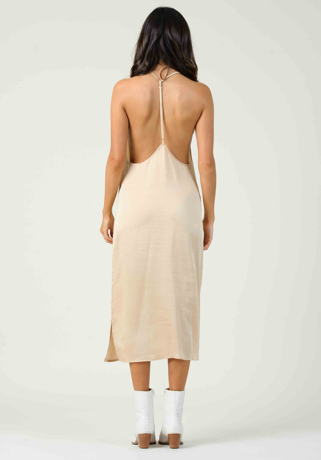 CONSTANTIA OPEN BACK SIDE SLIT DRESS | LIGHT HONEY