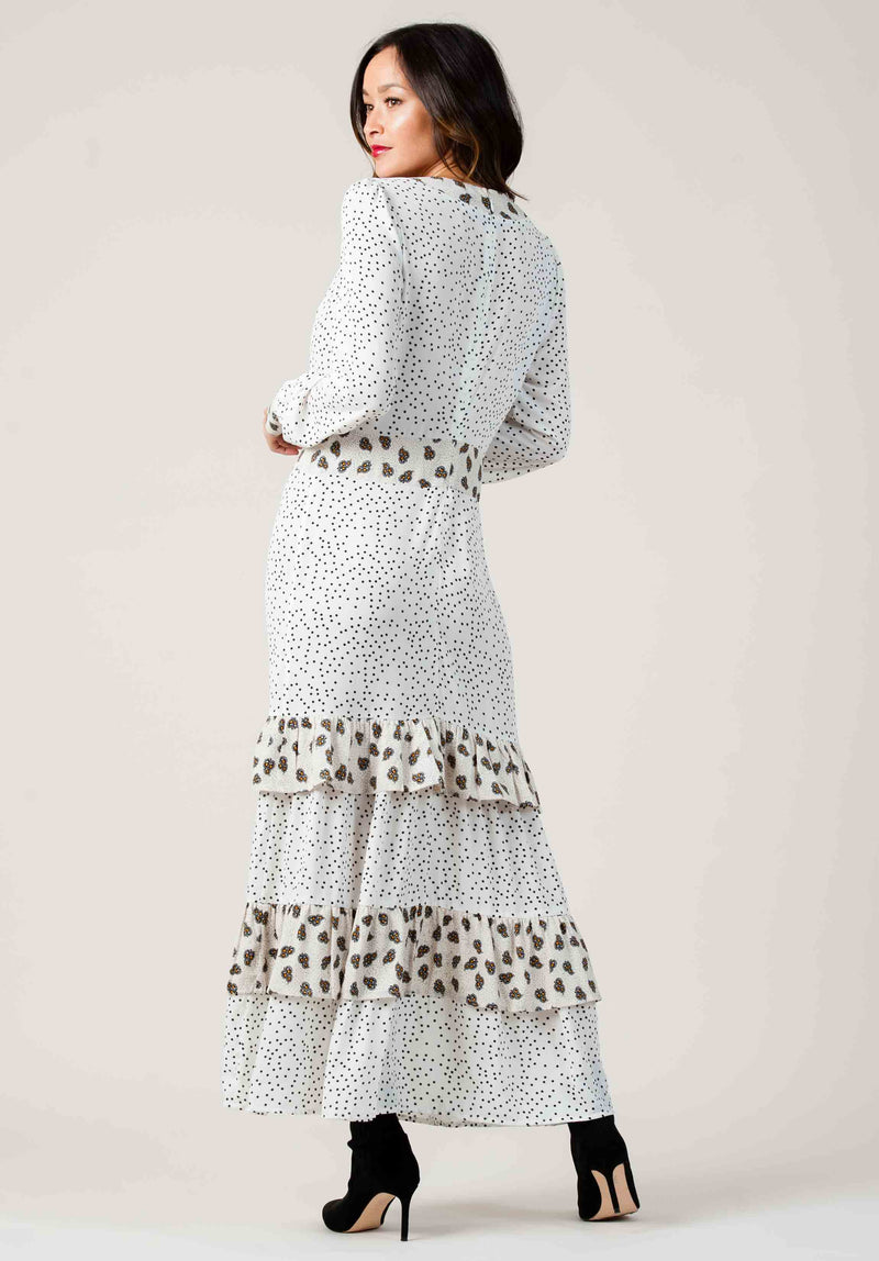 FRASCATI TIERED MAXI DRESS | CREAM MULTI DOT