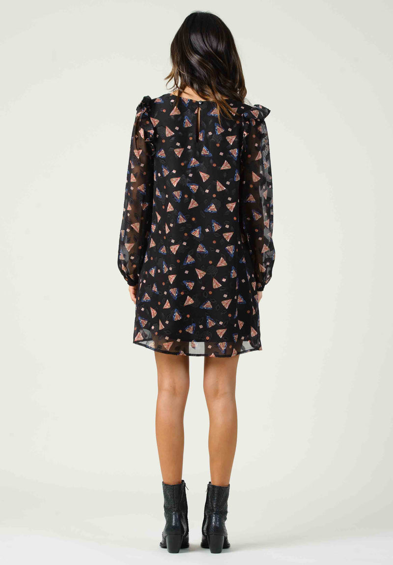 SANGIOVESE LONG SLEEVE SHIFT DRESS | BLACK FEATHER