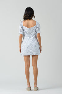 ASTER PUFF SLEEVE SHOULDER DRESS  | WHITE FLORAL