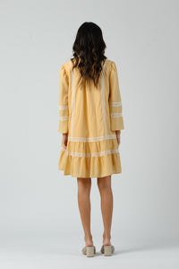 FLEUR LADDER TRIM DRESS | PINEAPPLE GINGHAM