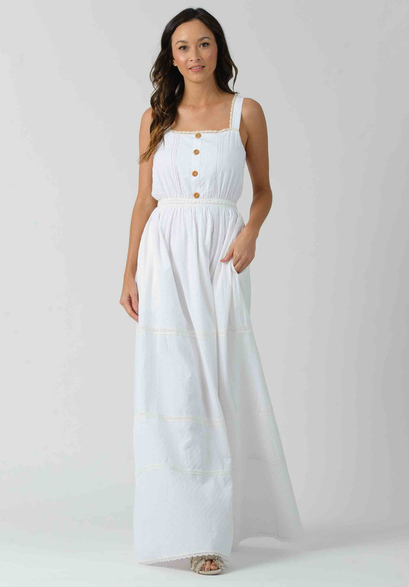 CAMELLIA MIDI DRESS W/ PATCH POCKETS | WHITE