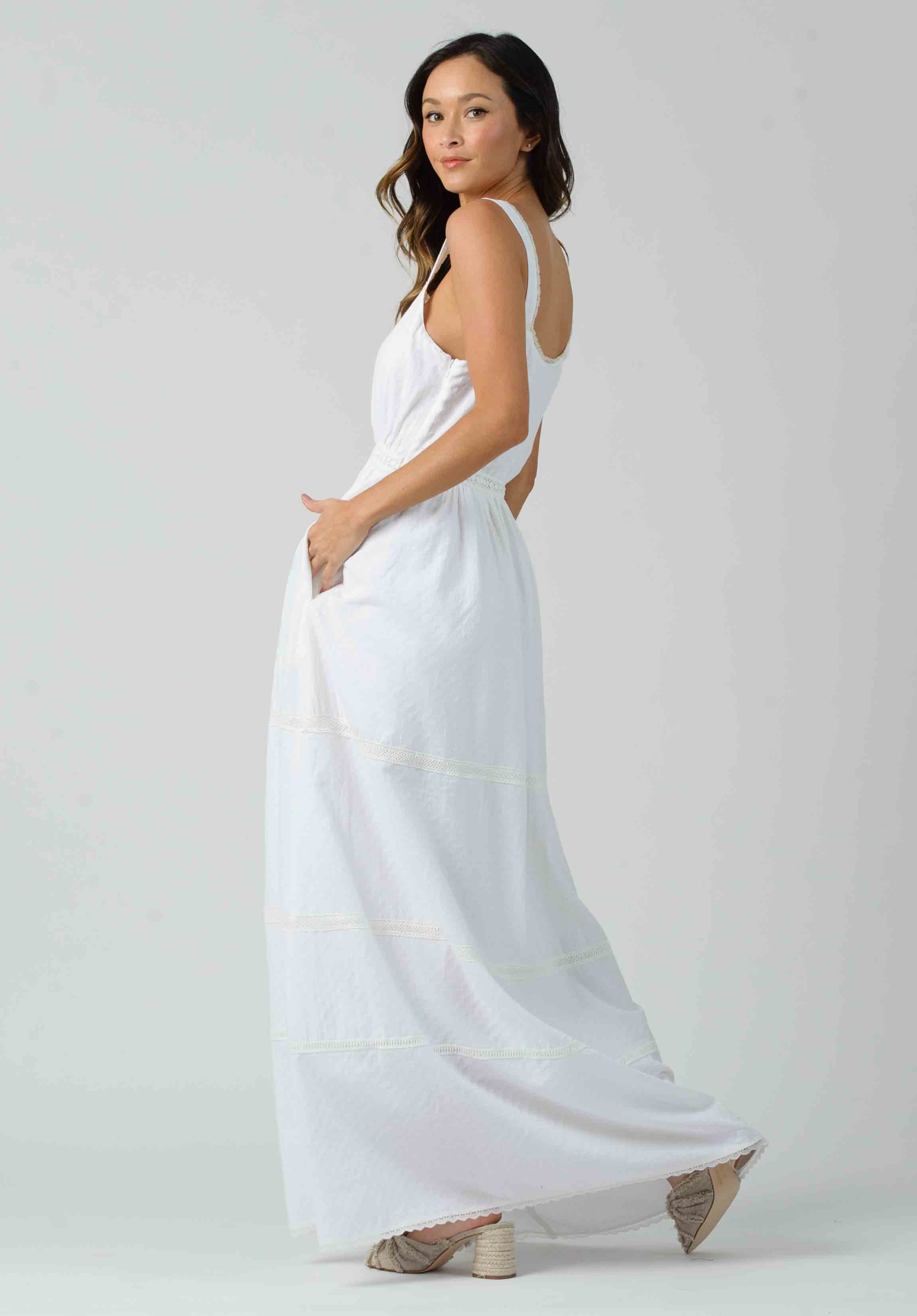JACINTA TRIM DETAIL MAXI DRESS | WHITE