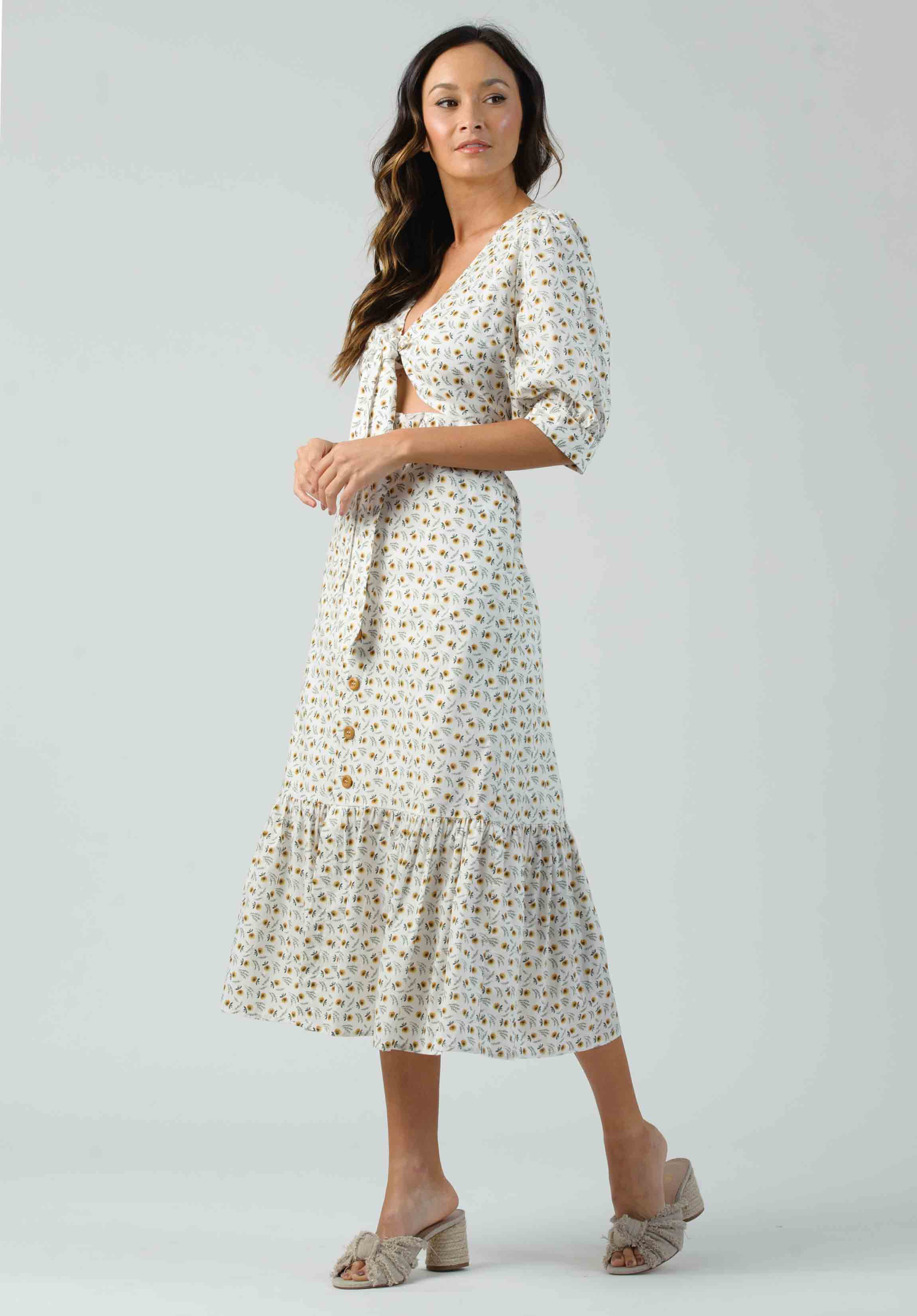 ORCHID TIE-FRONT MAXI DRESS | COTTON DAISY