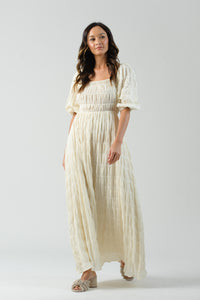 RUE SMOCKED BODICE MAXI DRESS | IVORY