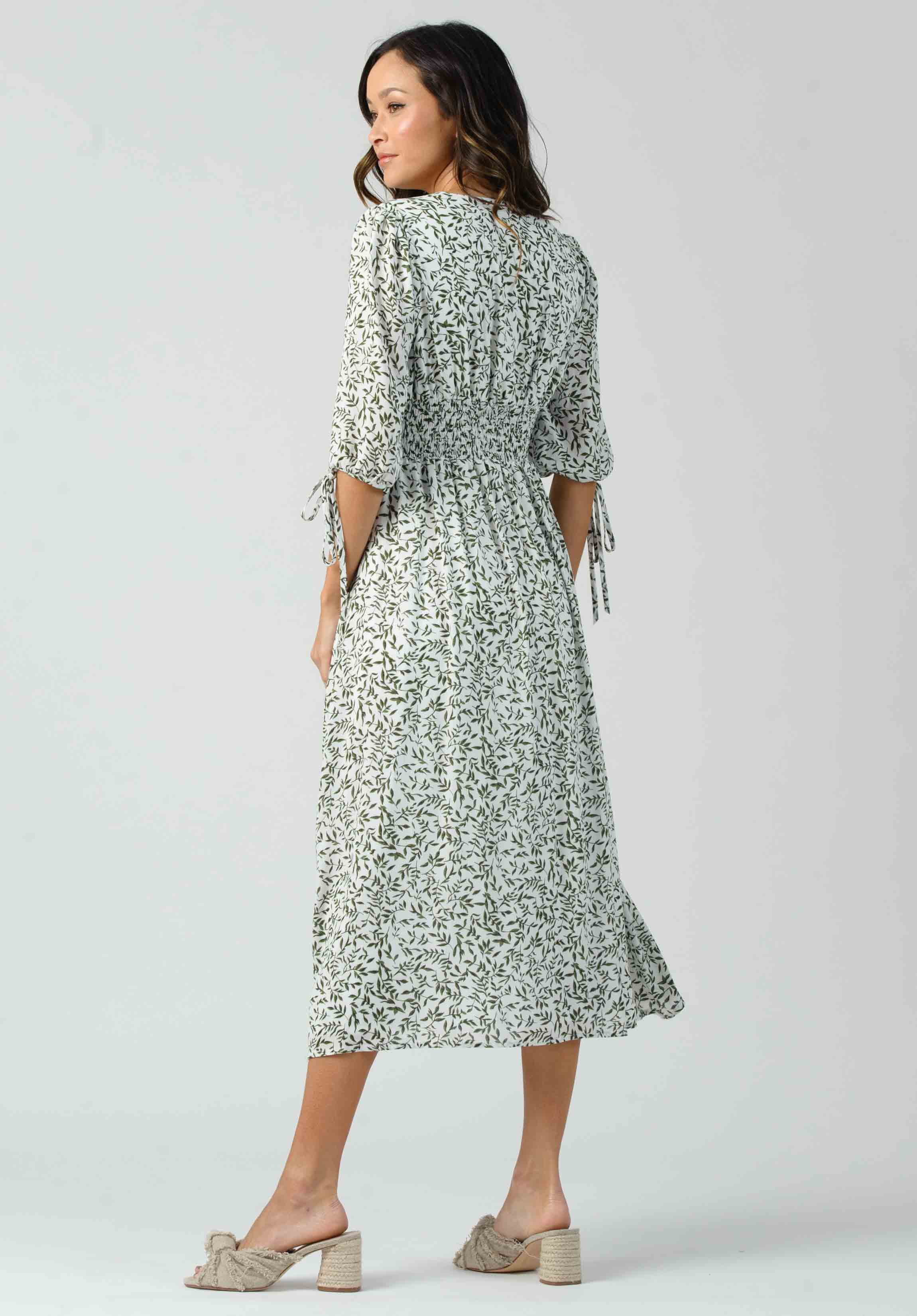 RHODES BUTTON SMOCKED MIDI DRESS | GREEN IVY
