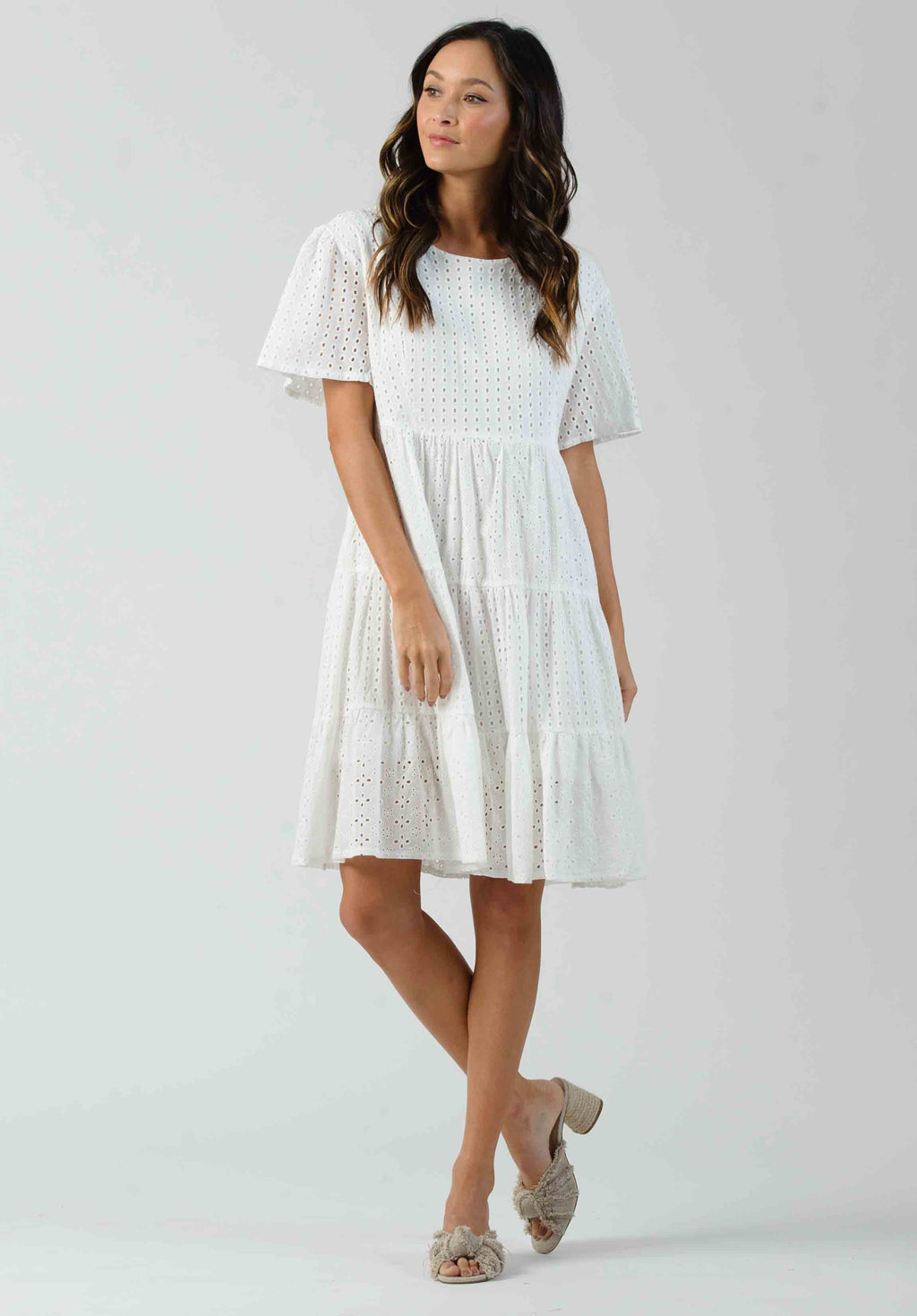MAISIE TIERED EYELET MINI DRESS | WHITE