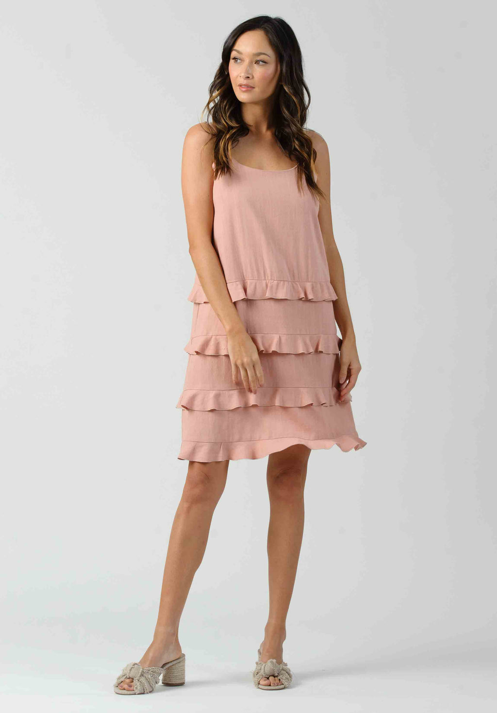 THEO RUFFLE DETAIL TANK DRESS | BALLET PINK