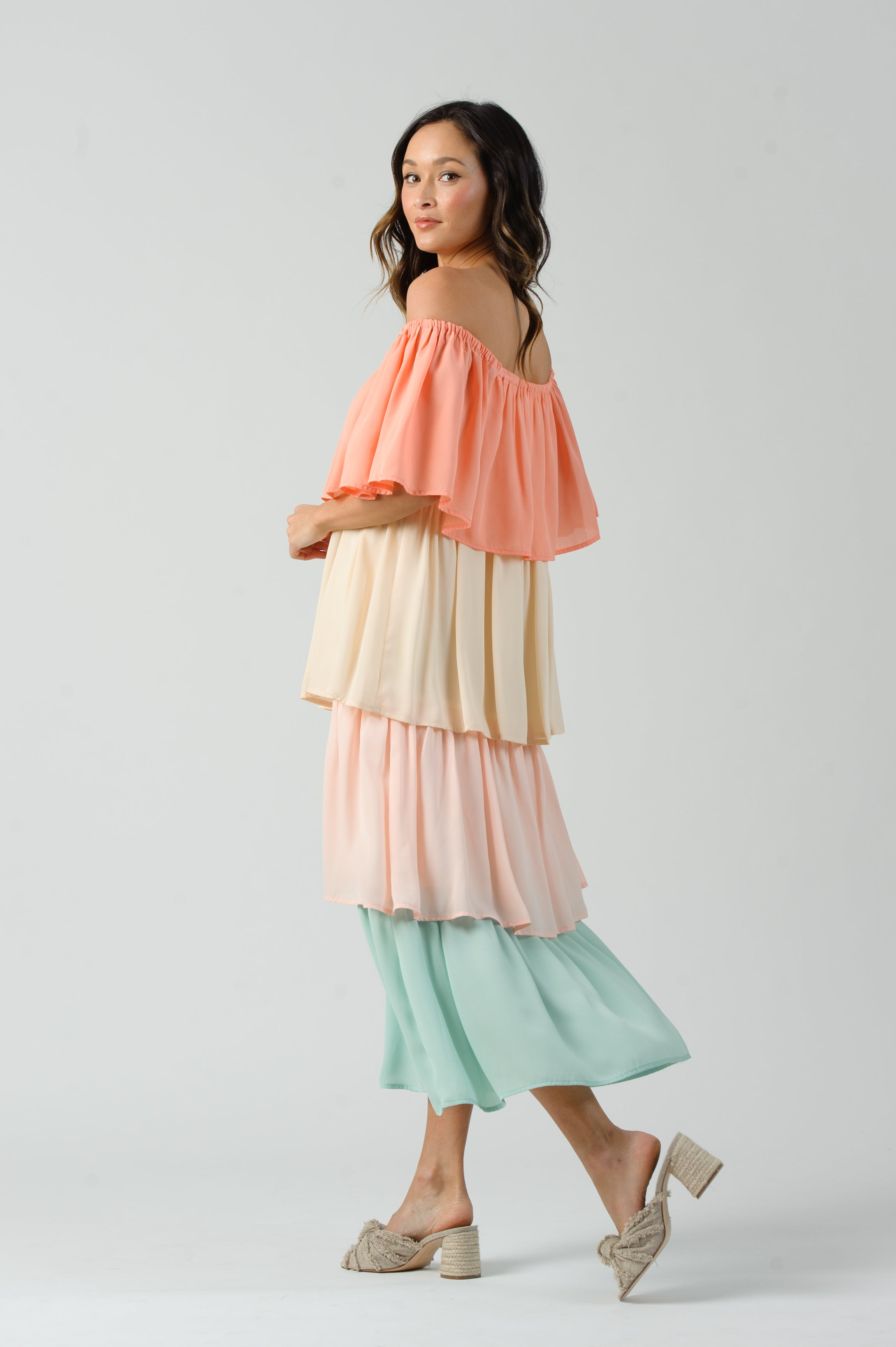 HELENE OFF THE SHOULDER TIERED DRESS  | MELON BLOCK