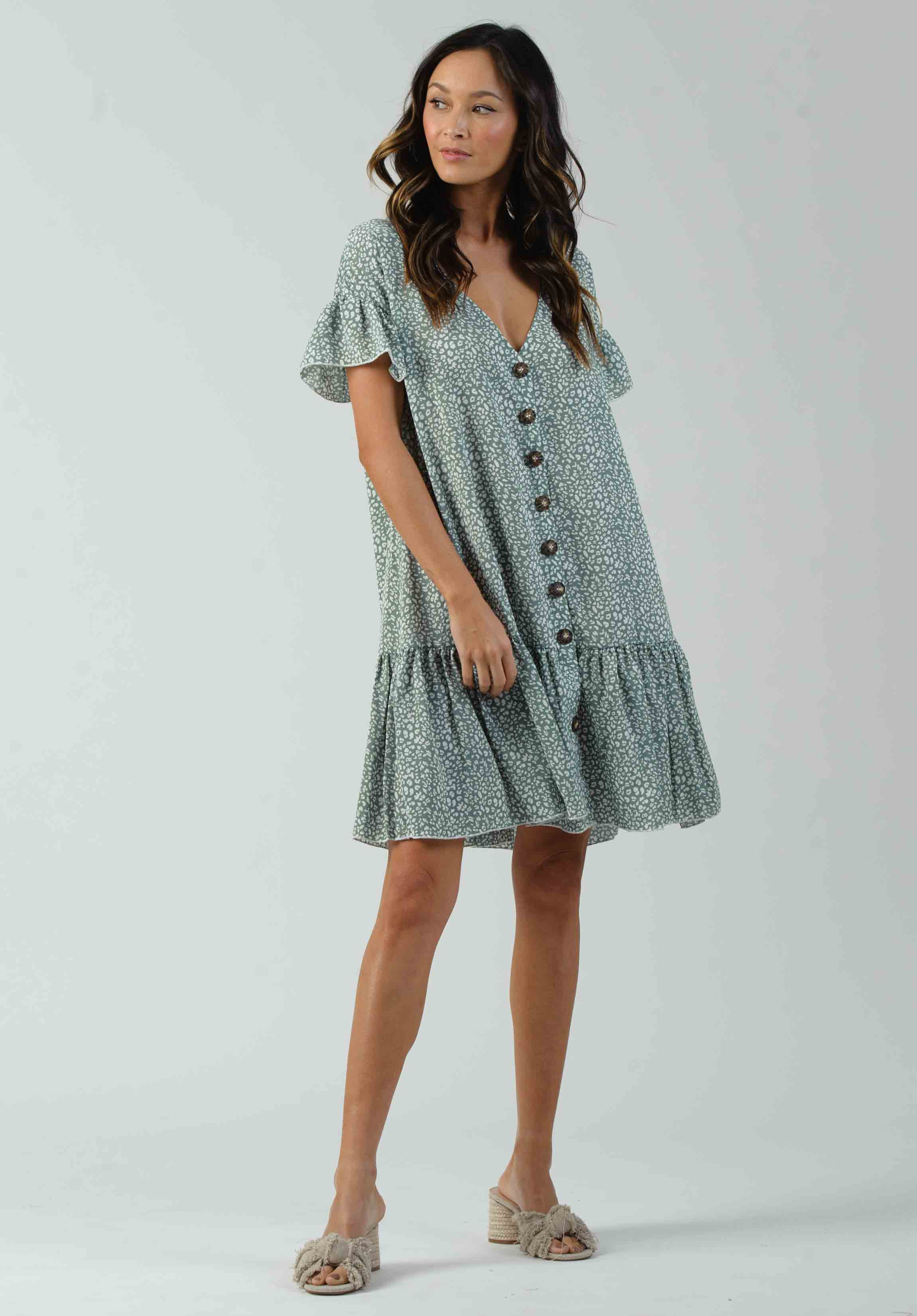 ELLIAS BUTTON FRONT DRESS | SAGE SPECKLE