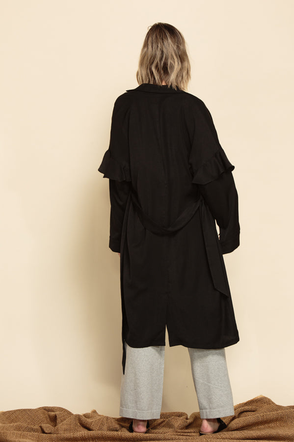 MIRIAM RUFFLE SLEEVE DUSTER COAT | EBONY