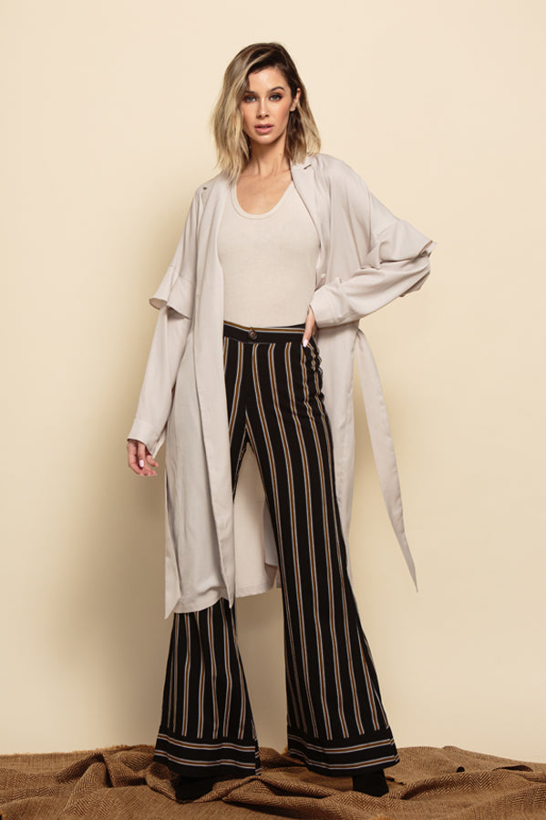 MIRIAM RUFFLE SLEEVE DUSTER COAT | BONE