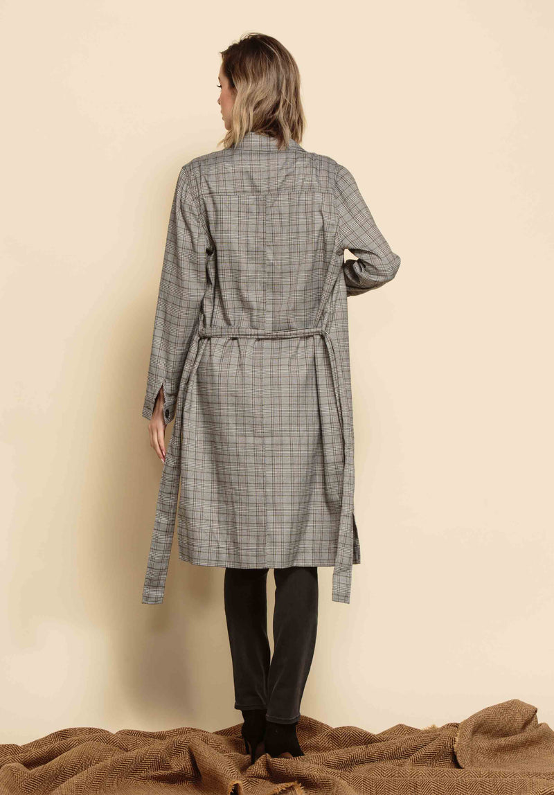 CHARLEE OPEN DUSTER COAT W/ WAIST TIE | BLACK/WHITE PLAID