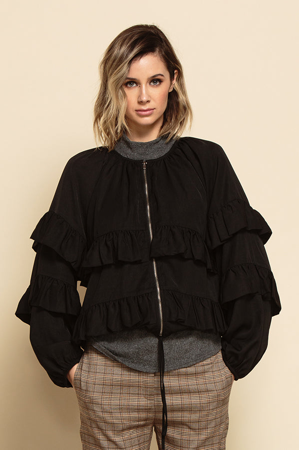 FREYA ZIP UP RUFFLE TIERED JACKET | BLACK