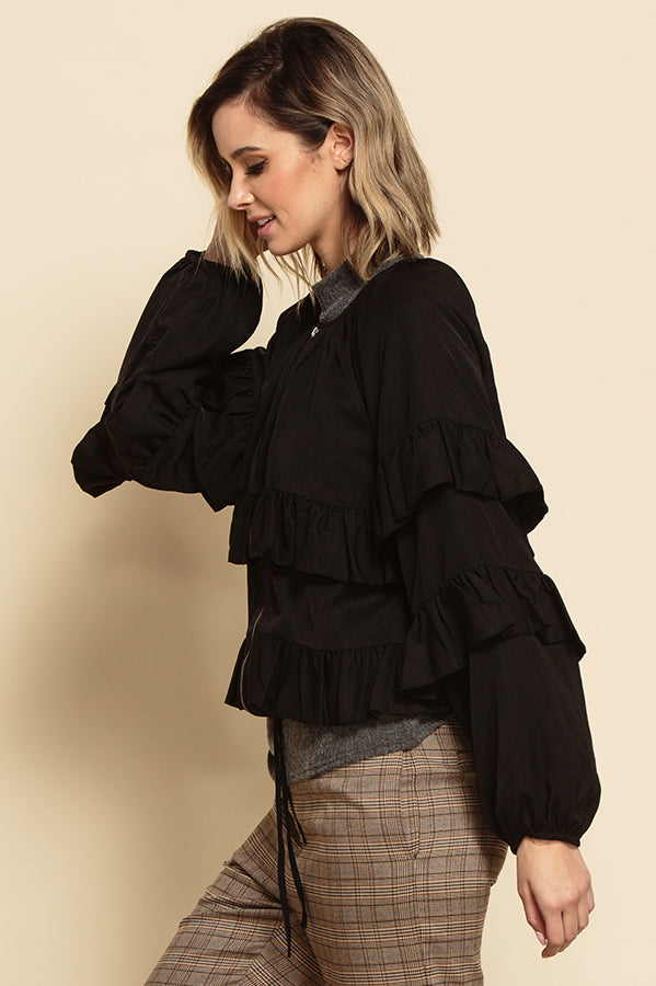 FREYA ZIP UP RUFFLE TIERED JACKET | EBONY