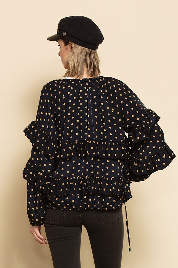 FREYA ZIP UP RUFFLE TIERED JACKET | NAVY POLKA DOT