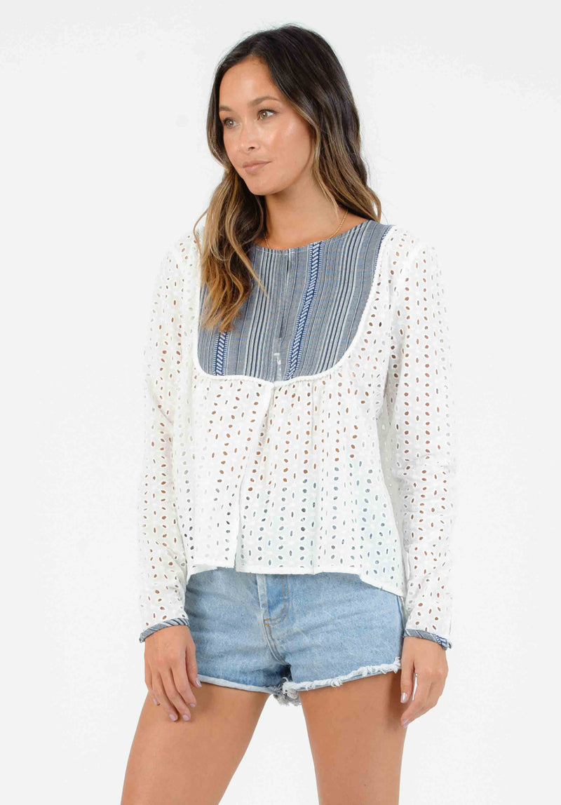 MEADOW JACKET W/ CONTRAST BIB | WHITE EYELET