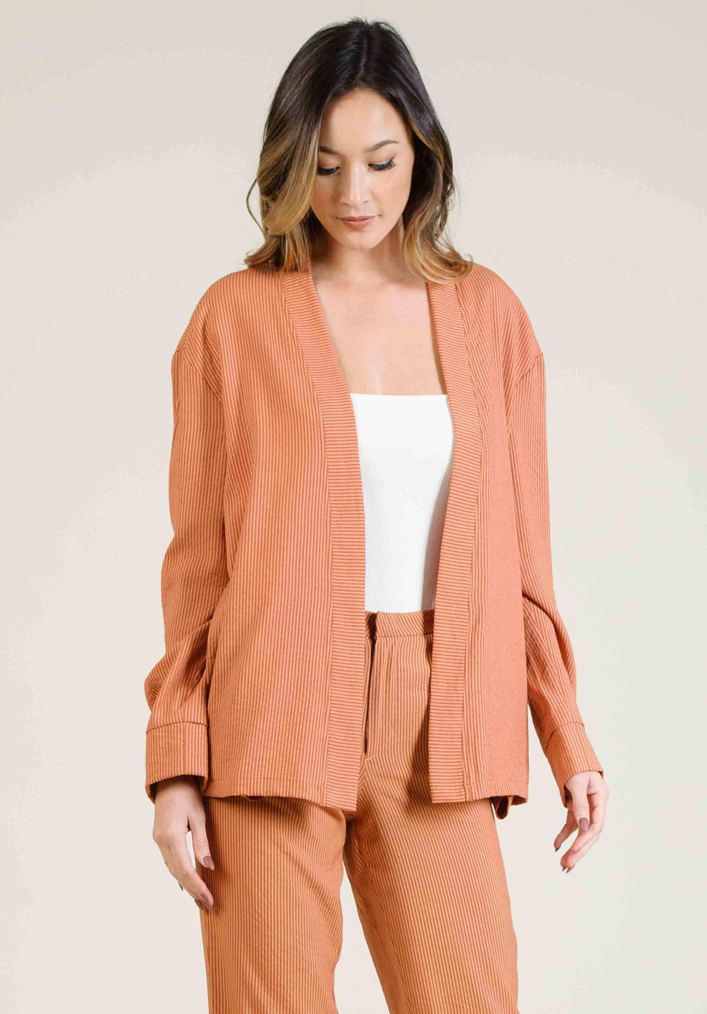 AMALFI DROP SHOULDER JACKET | AMBER STRIPE
