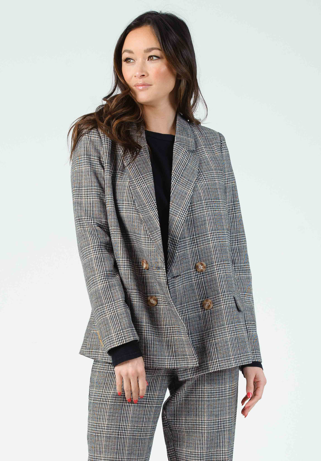LANSON DOUBLE BREASTED BLAZER | BLACK PLAID