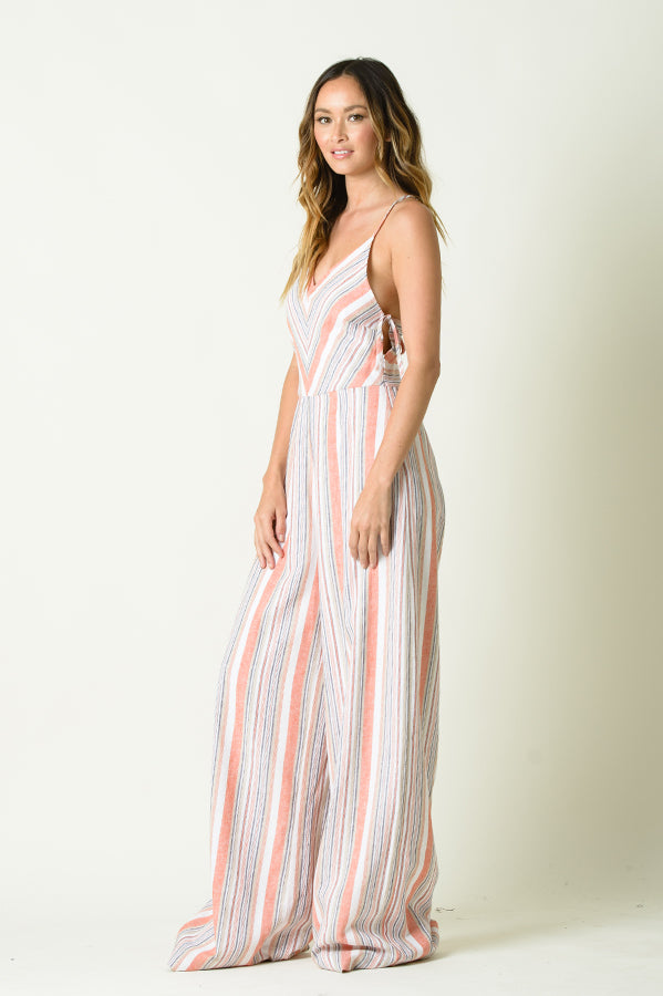 EVERLY RACER BACK CAMI JUMPSUIT | RUSTIC STRIPE