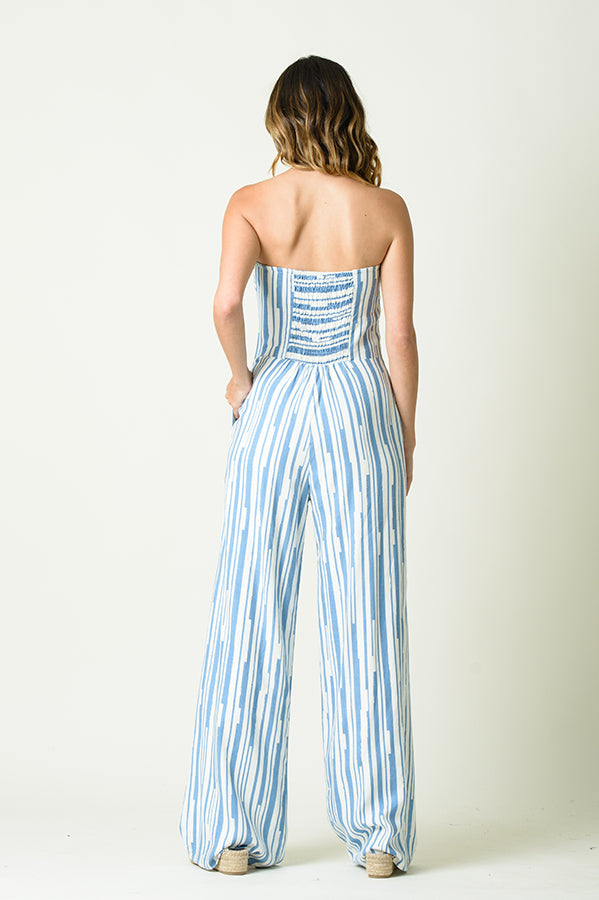 REAGAN STRAPLESS CUTOUT JUMPSUIT | BLUE STRIPE