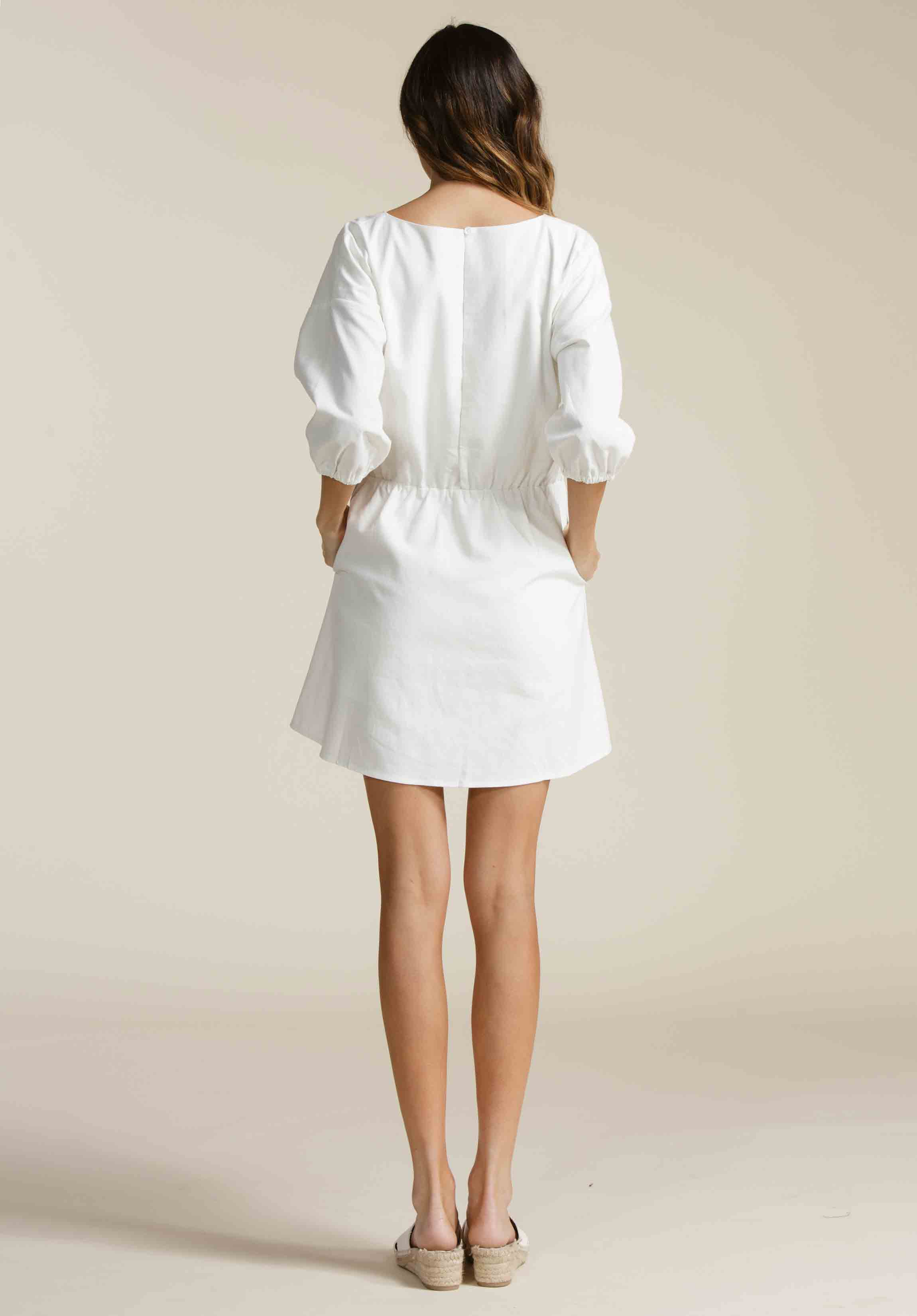 MYLAV SMOCK WAIST DRESS | WHITE LINEN