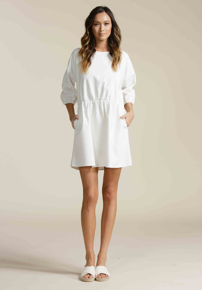 ADDILYN MINI DRESS | WHITE LINEN