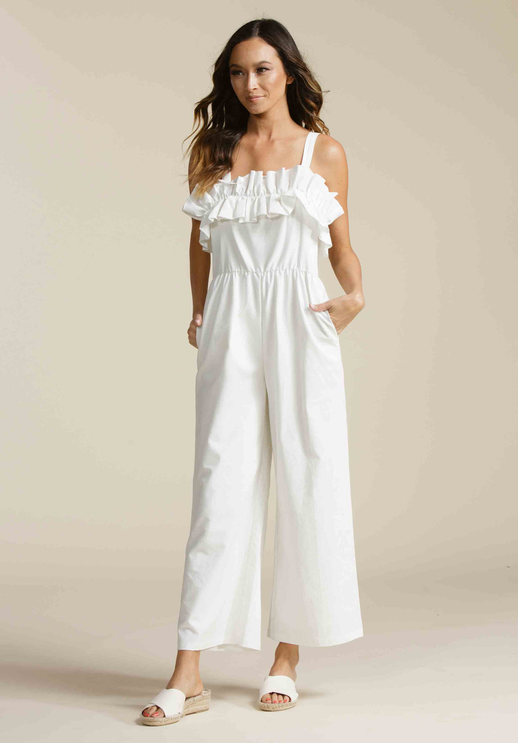 GIA RUFFLE CULOTTE JUMPSUIT | WHITE LINEN