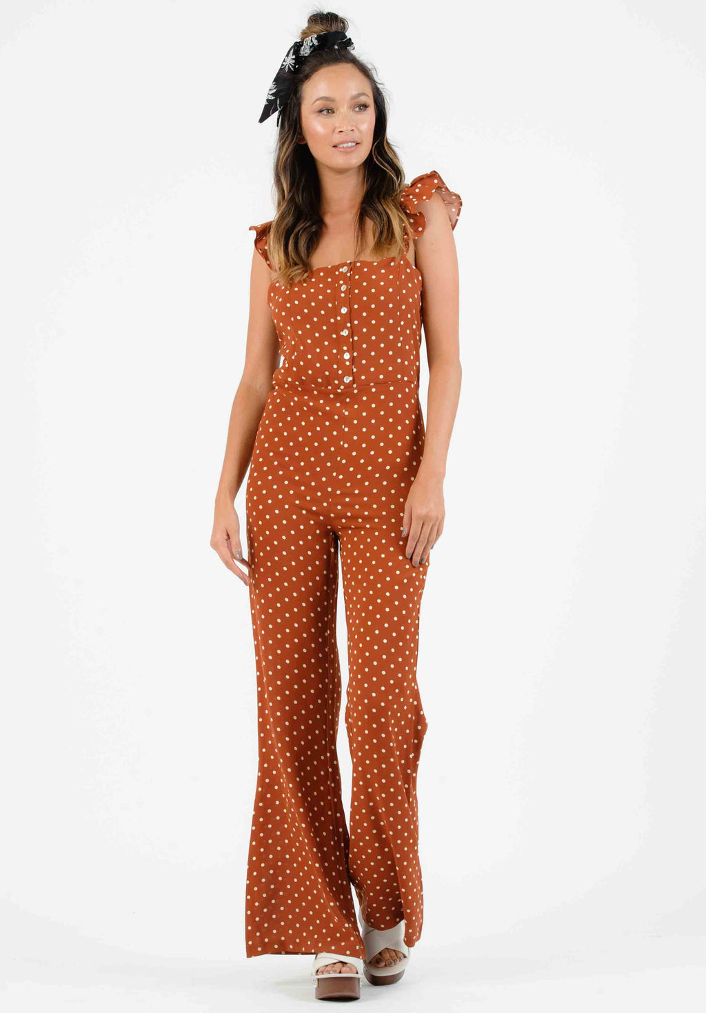 MADELYNN RUFFLE STRAP JUMPSUIT | RUSSET POLKA DOT
