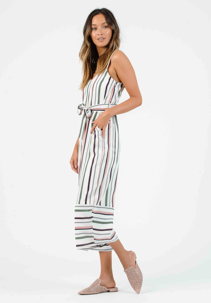 NAPLES CAMI JUMPSUIT | WHITE MULTI STRIPE