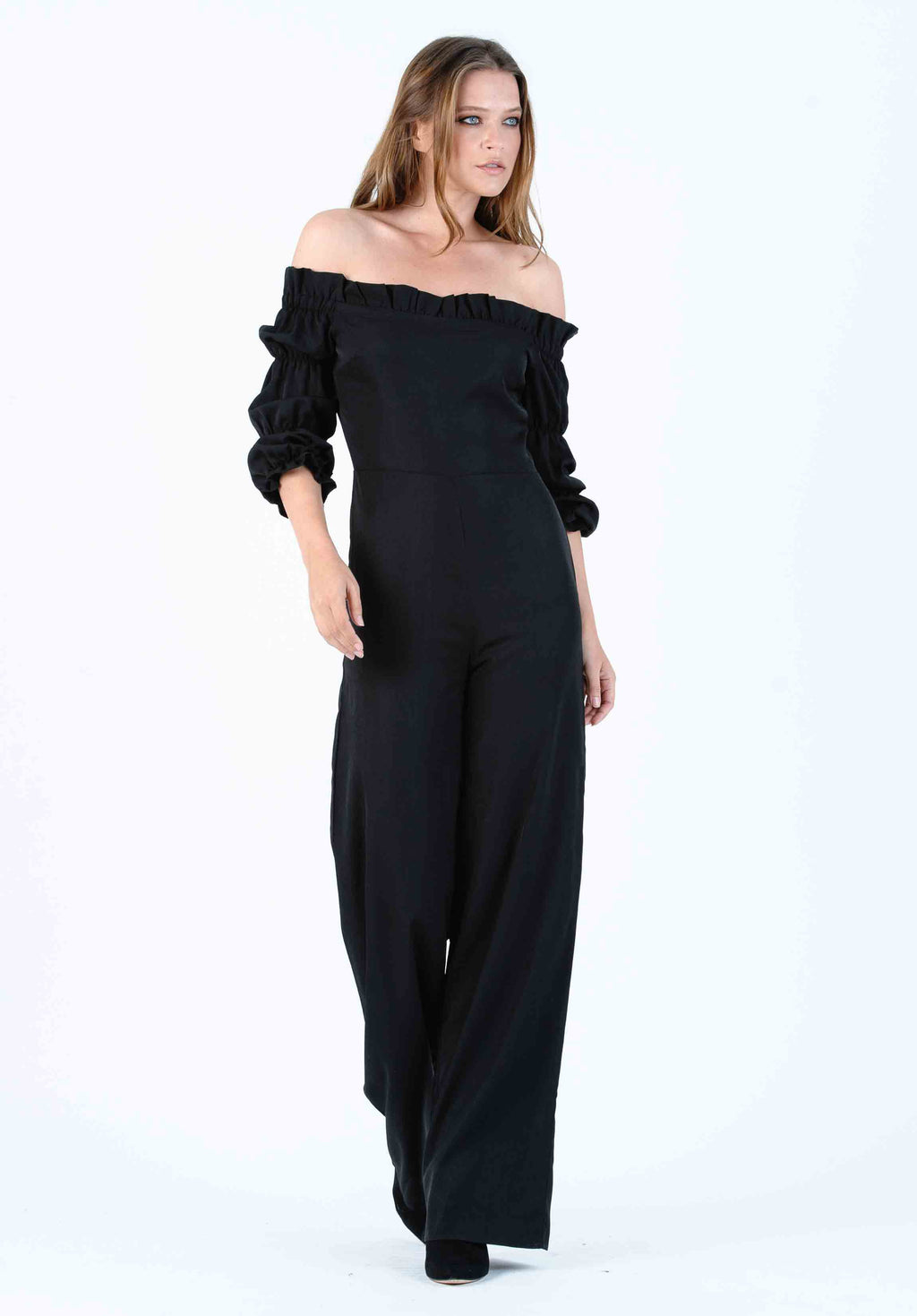 JULIET TRIPLE PUFF SLEEVE JUMPSUIT | OBSIDIAN