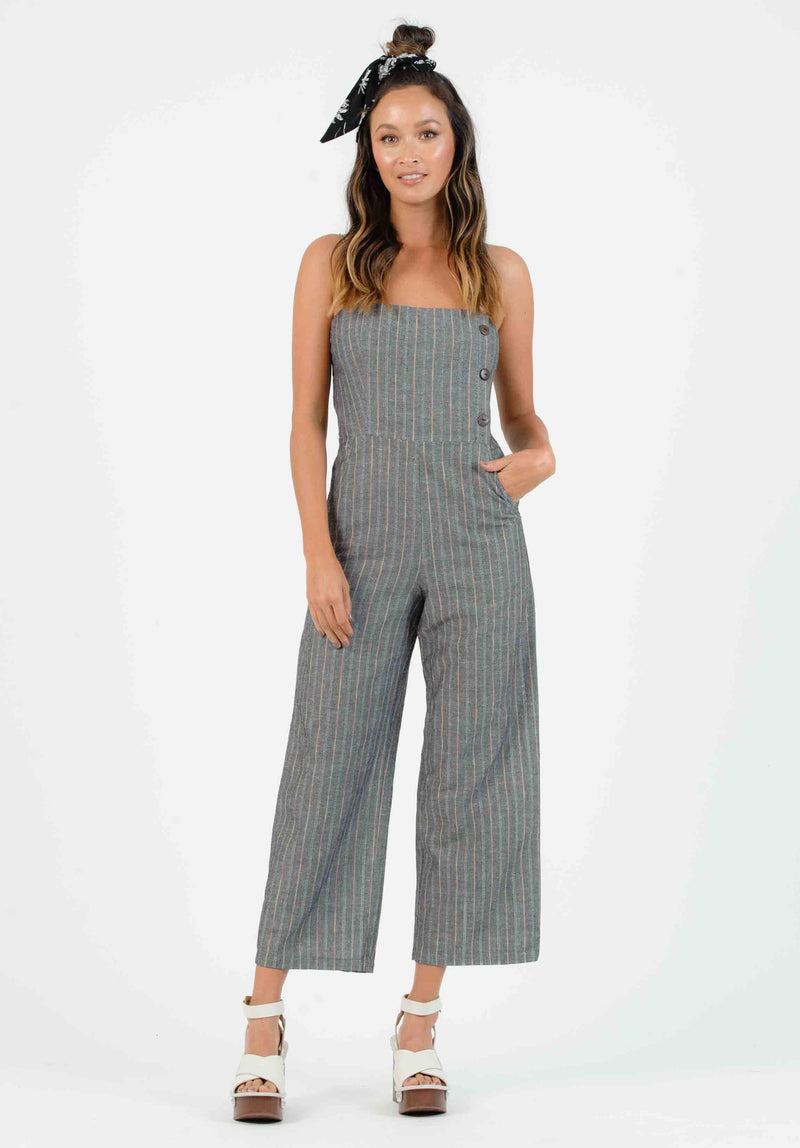 OHANA BUTTON DOWN JUMPSUIT | BLACK/RAINBOW STRIPE