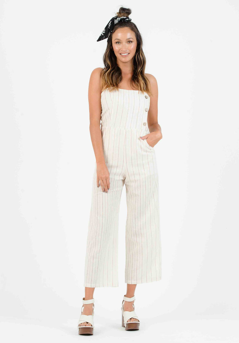 OHANA BUTTON DOWN JUMPSUIT | TAN/RAINBOW STRIPE