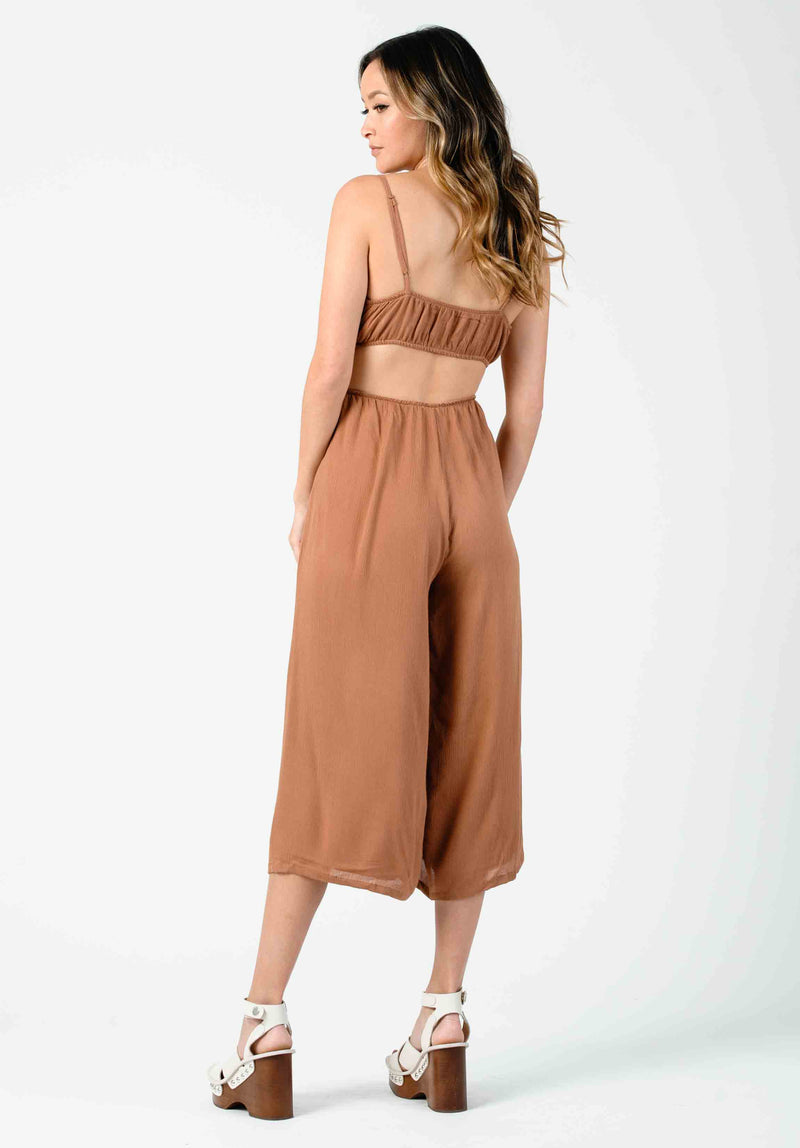 MIRAGE SIDE CUT OUT JUMPSUIT | CLAY
