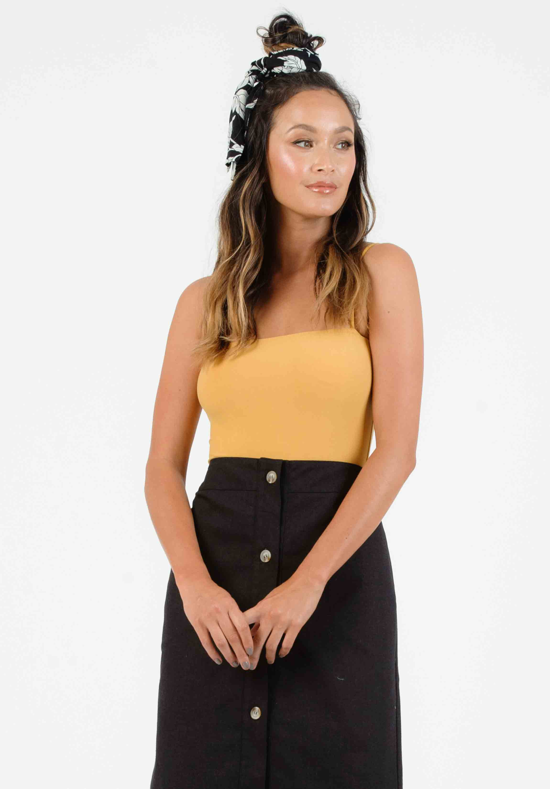 REILEY SQUARE NECK BODYSUIT | MUSTARD