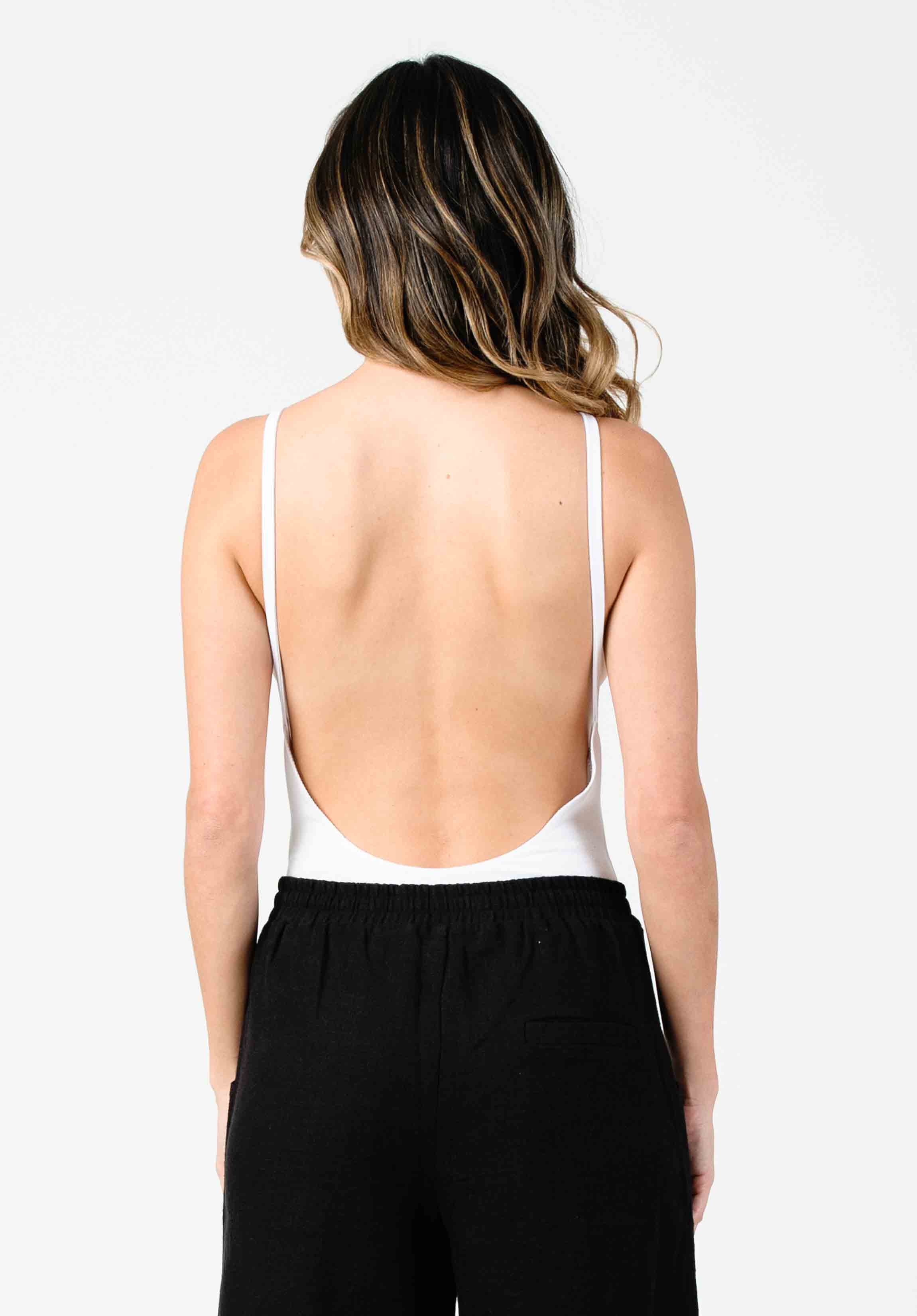 IANNA LOW BACK BODYSUIT | WHITE