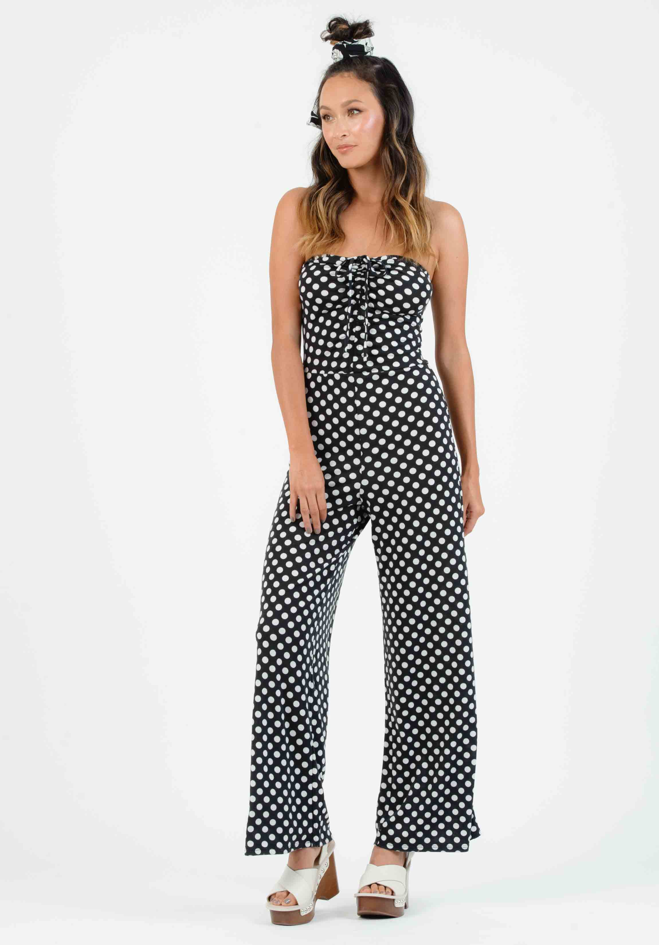 SEFINA SYNCHED JUMPSUIT | BLACK/WHITE POLKA DOT