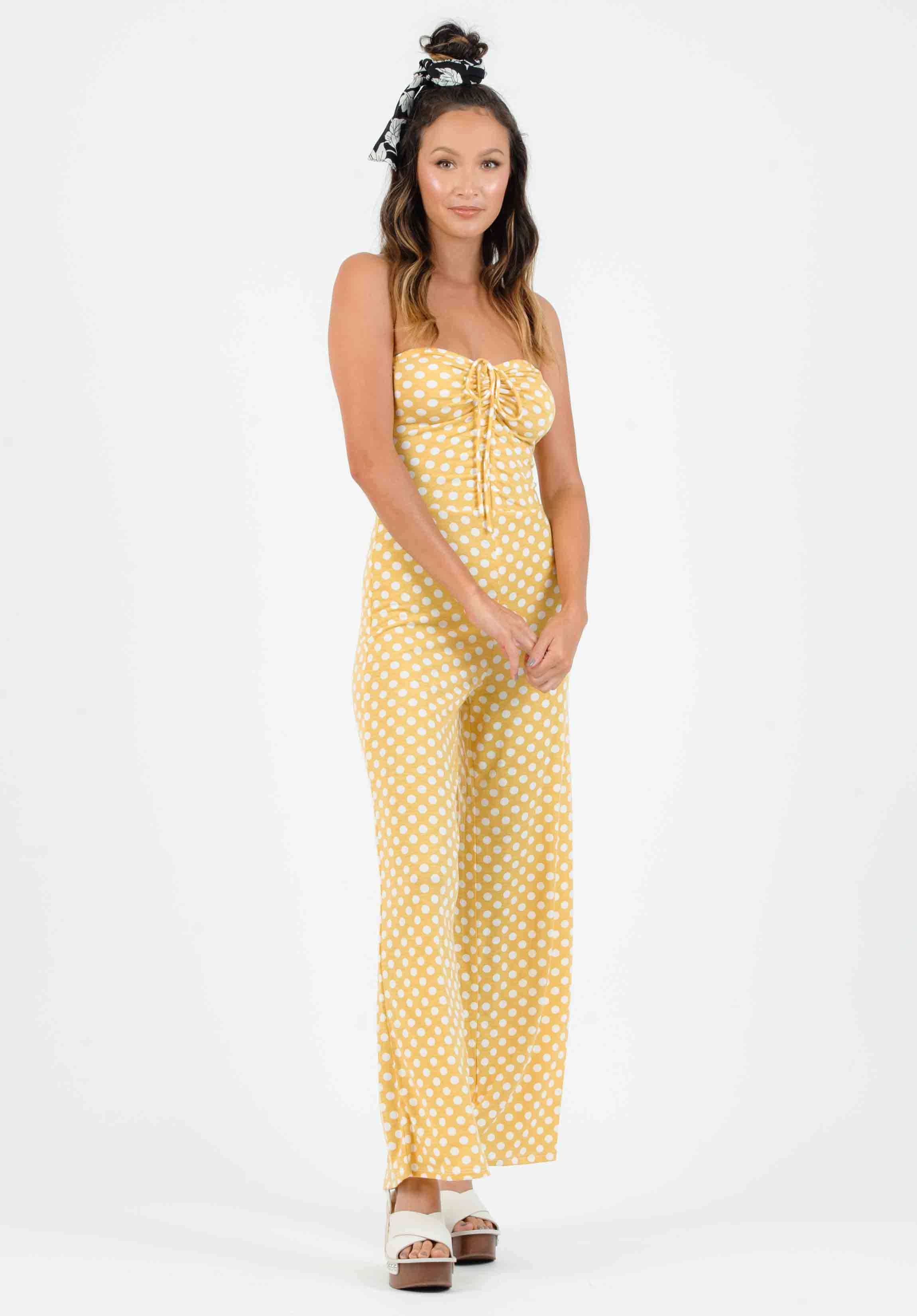 SEFINA SYNCHED JUMPSUIT | MUSTARD/WHITE POLKA DOT