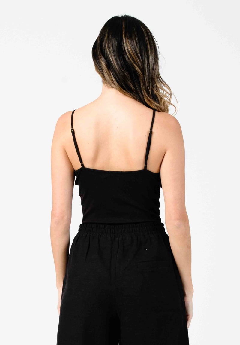 IZZY BUTTON FRONT BODYSUIT | BLACK