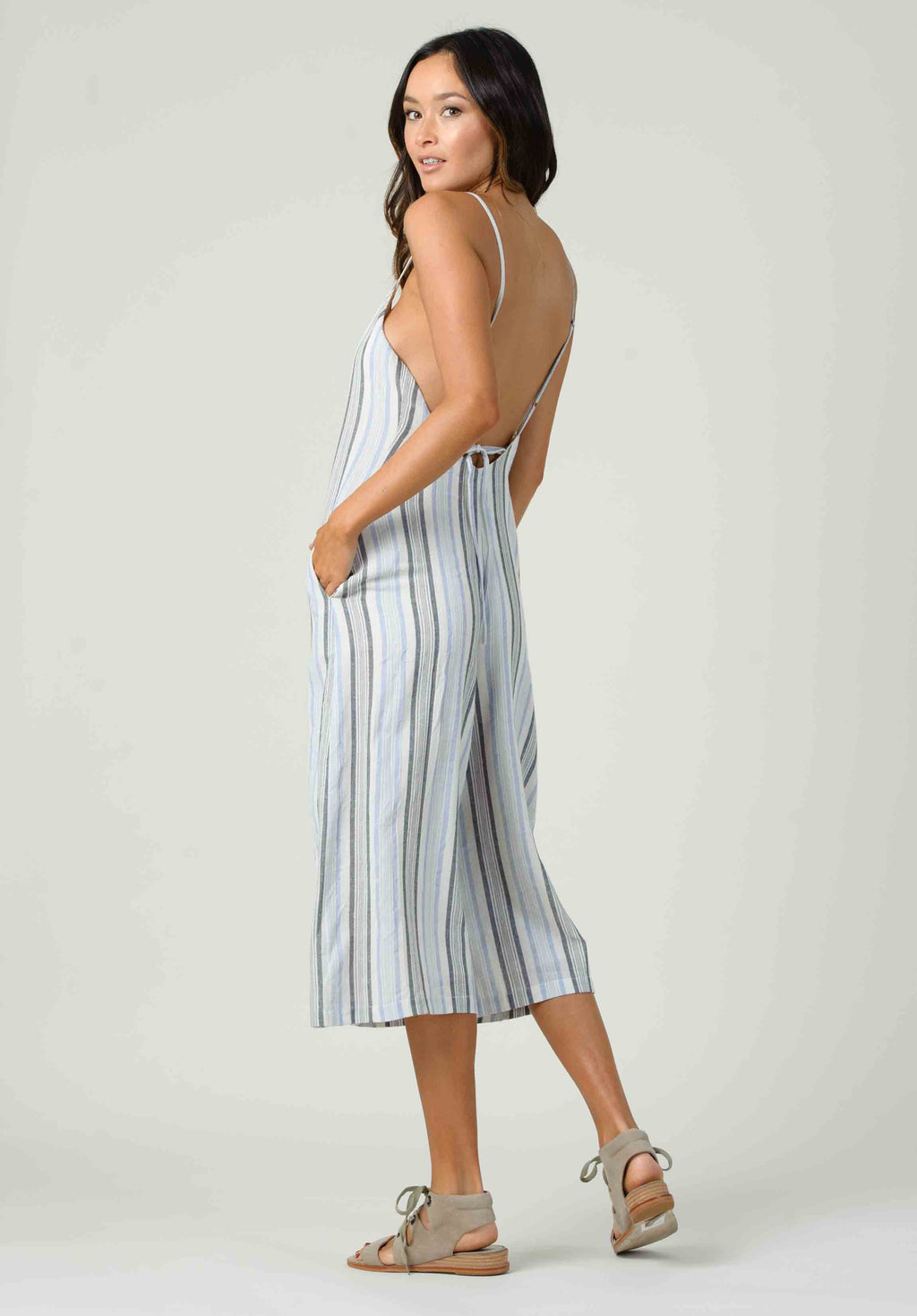 ORCHID TIE BACK JUMPSUIT | BLUE MULTISTRIPE