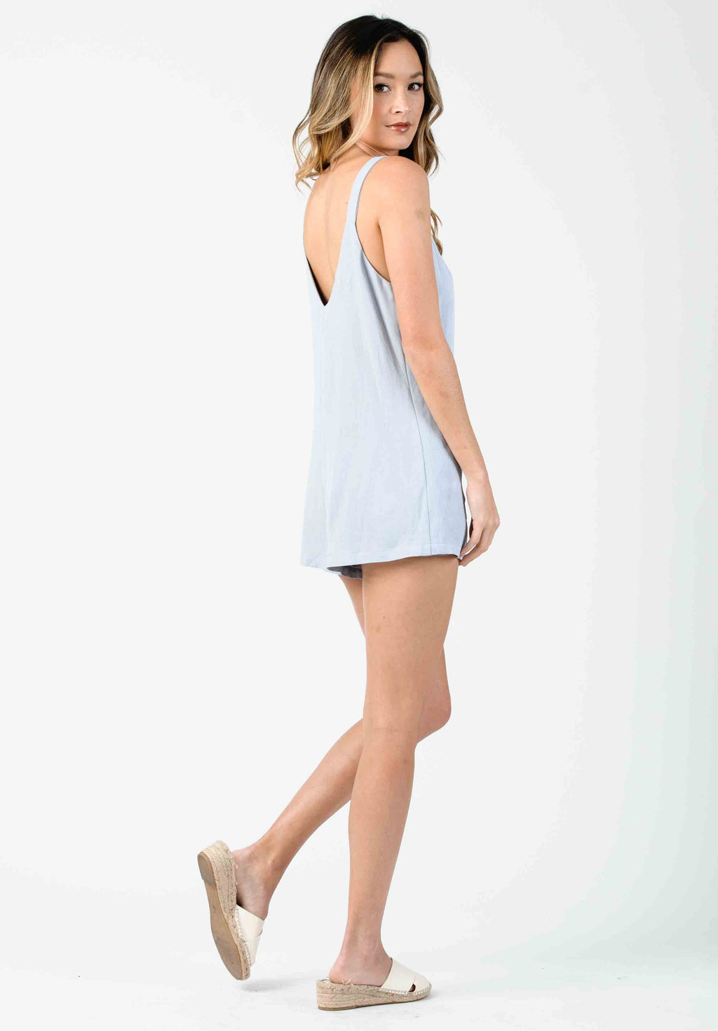 TANSY BUTTON FRONT ROMPER | SEA MIST