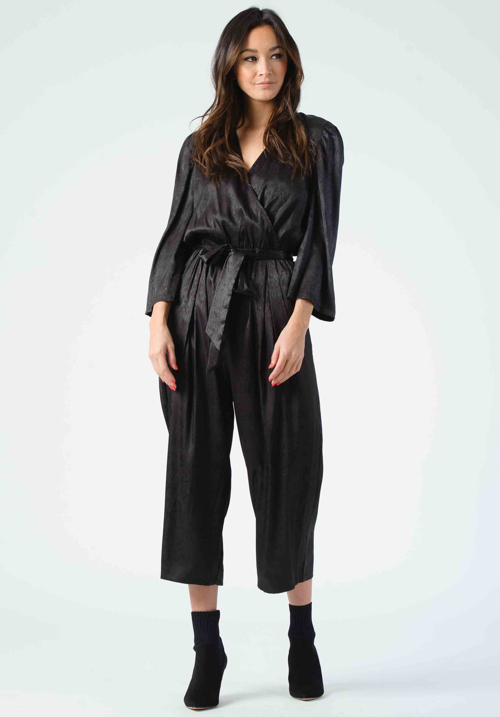 ROSE PUFF SLEEVE JUMPSUIT | BLACK ZEBRA