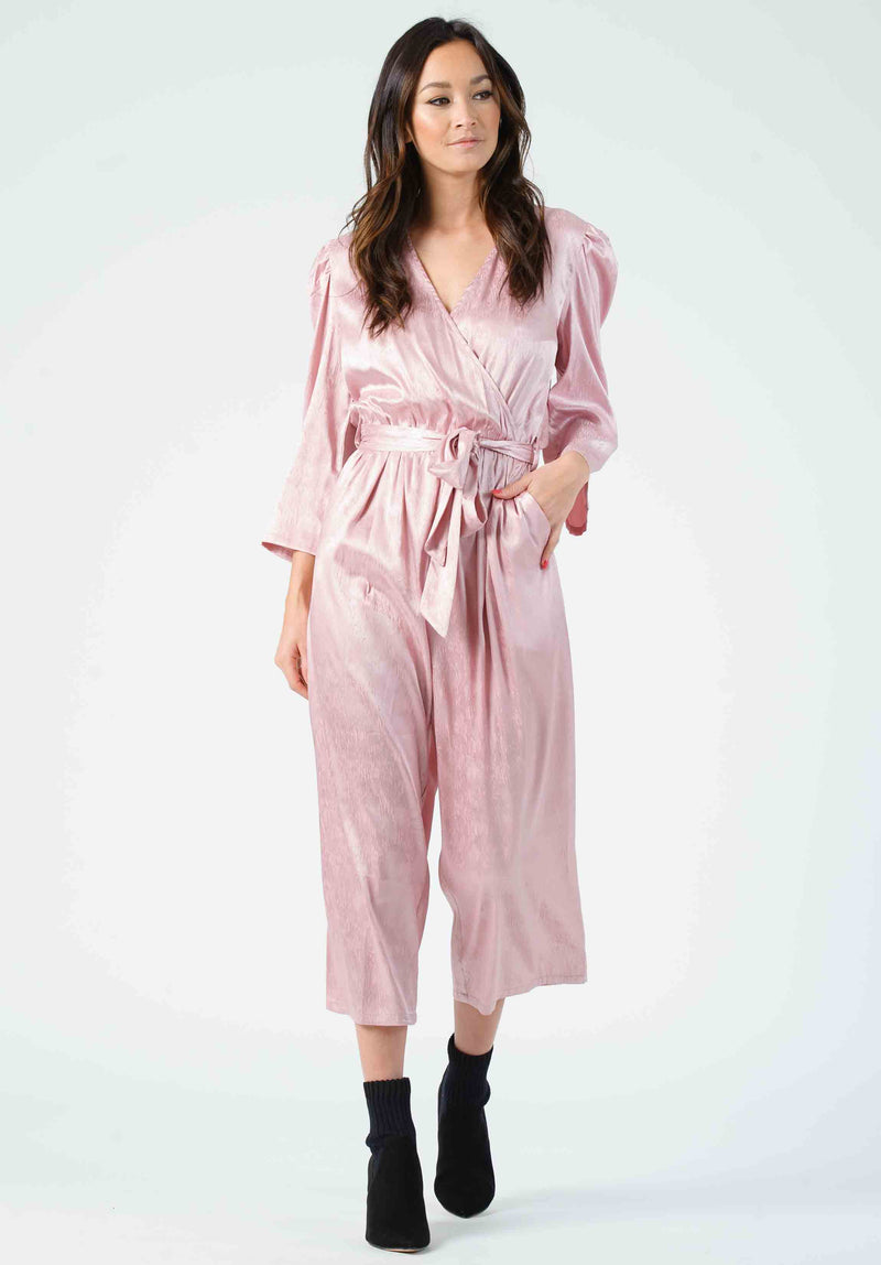 ROSE PUFF SLEEVE JUMPSUIT | MAUVE ZEBRA
