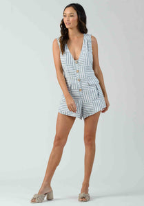 EVANTHE TIE-WAIST POCKET ROMPER | LIGHT BLUE STRIPE