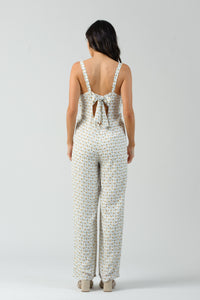 LITA TIE BACK JUMPSUIT | WHITE DAISY