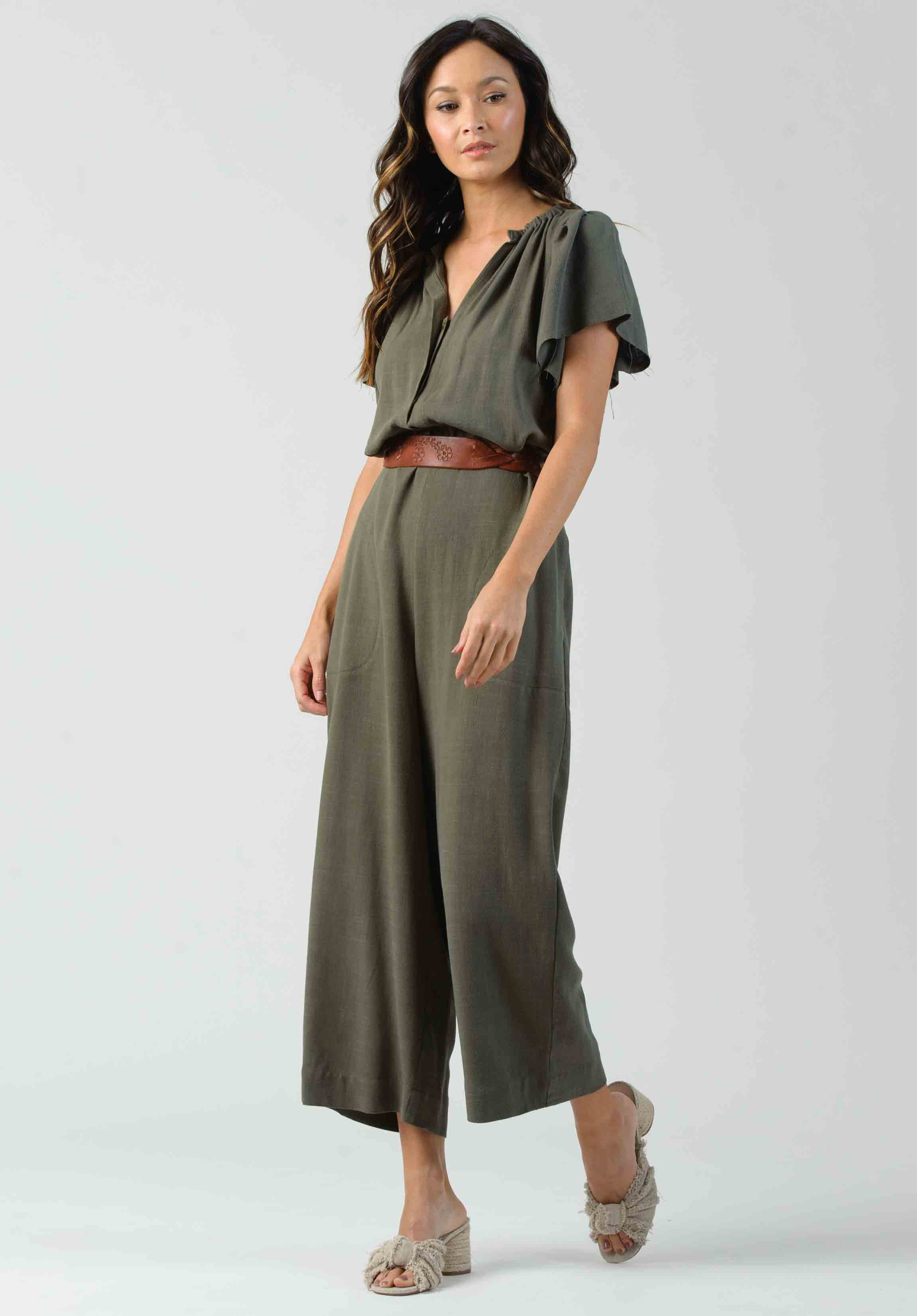 HAZEL LINEN JUMPSUIT | FOREST GREEN